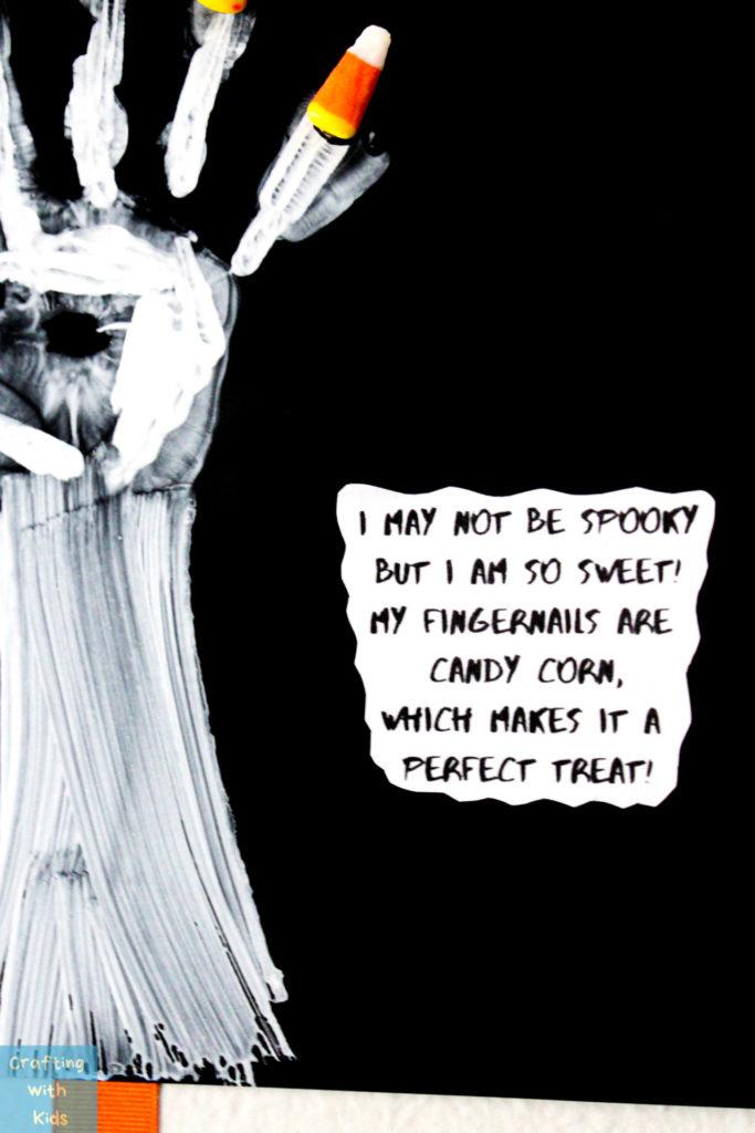 Halloween handprint sign and printable saying