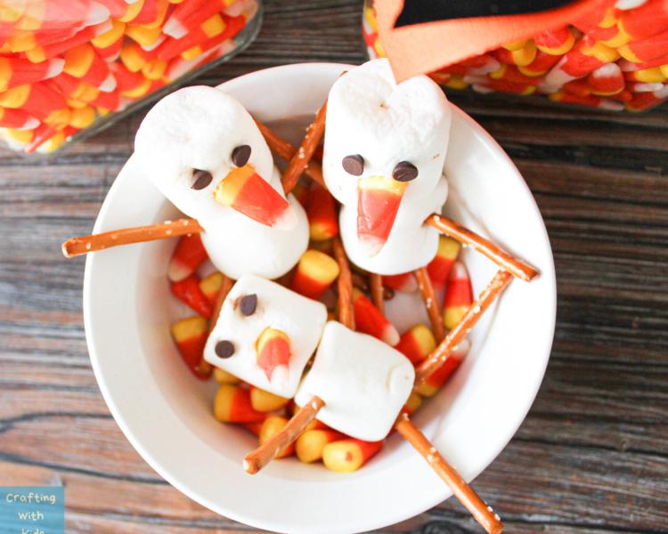 Halloween snowman snacks 1