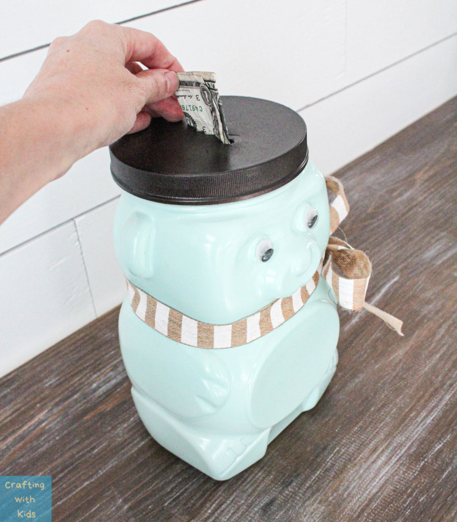 Animal Cracker Bear Jug Repurposed into piggy bank