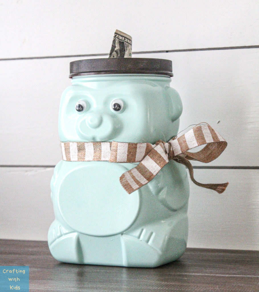 Animal Cracker Bear Jug Reused  into piggy bank