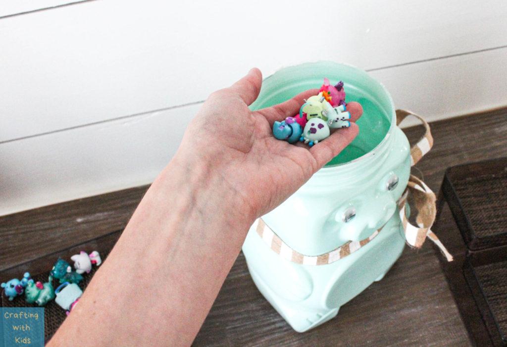 Animal Cracker Bear Jug Reused into toy storage