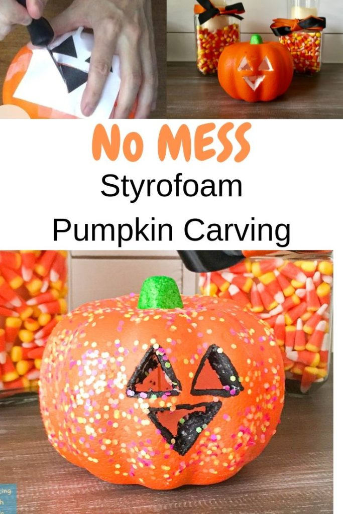 no mess styrofoam pumpkin carving