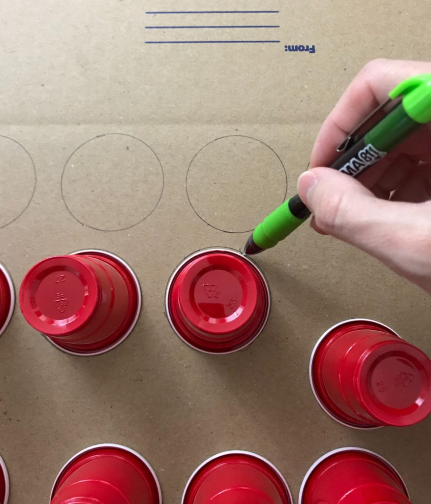 drawing circles in box for advent calendar