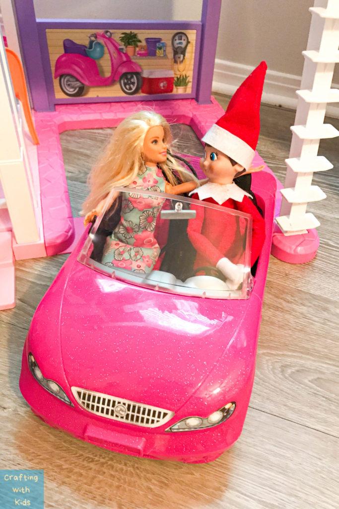 Elf on the shelf in barbie car