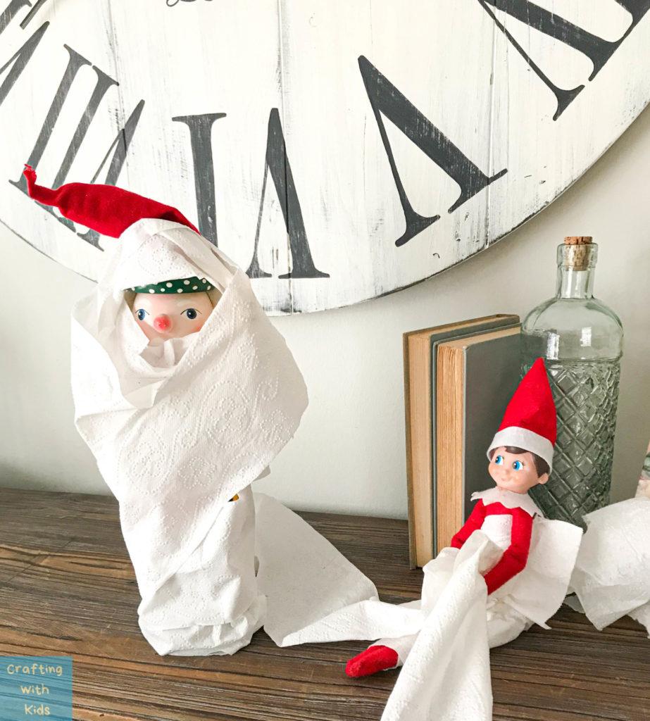 Elf on the shelf rolled Nutcracker in toilet paper