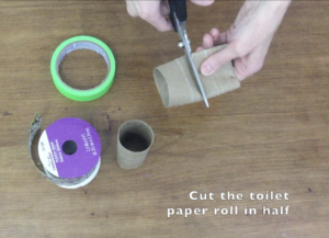 cutting toilet paper roll for bracelet