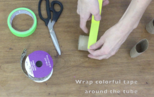 wrapping toilet paper roll in tape