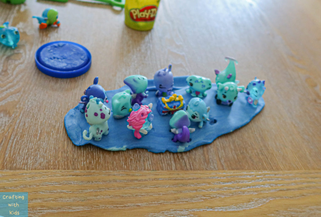 hatchimals in playdough