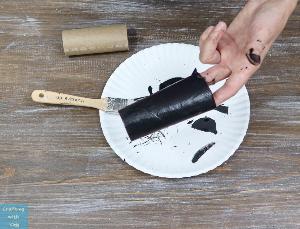 painting the toilet paper tube black