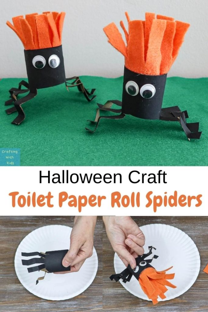 DIY toilet paper roll spiders