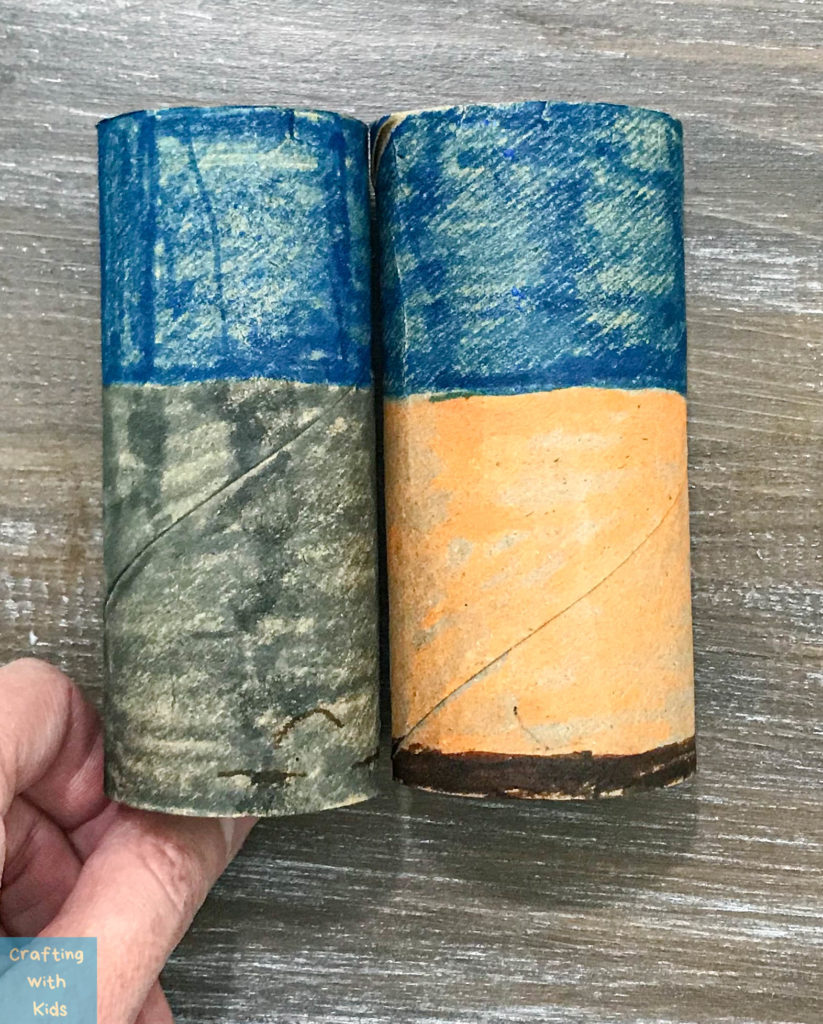 colored toilet paper tubes for DIY binoculars