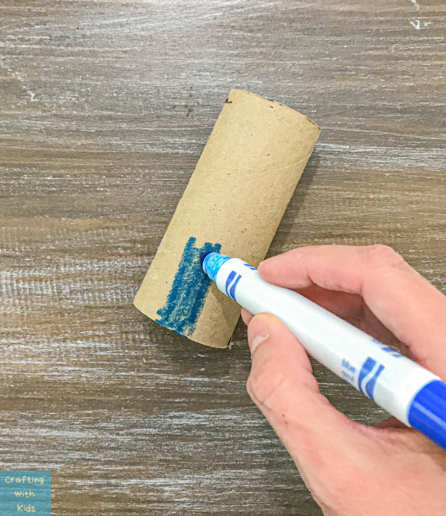 coloring the toilet paper tubes