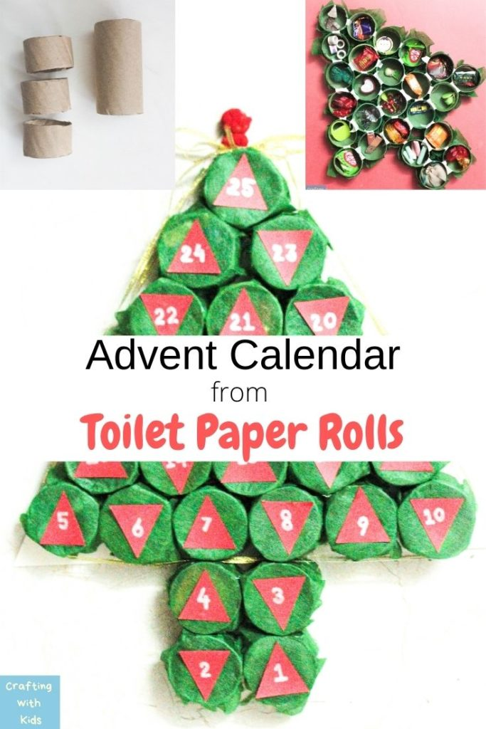 advent calendar from toilet paper roll tubes