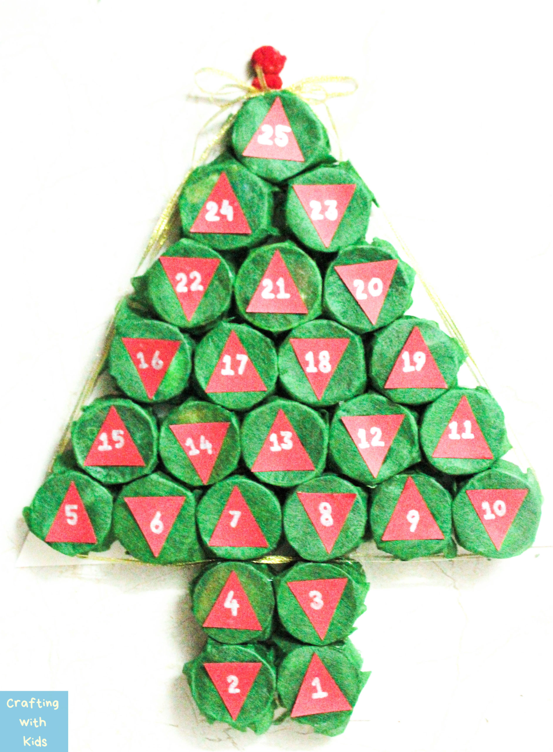 Advent Calendar Christmas tree from paper towel or toilet paper rolls