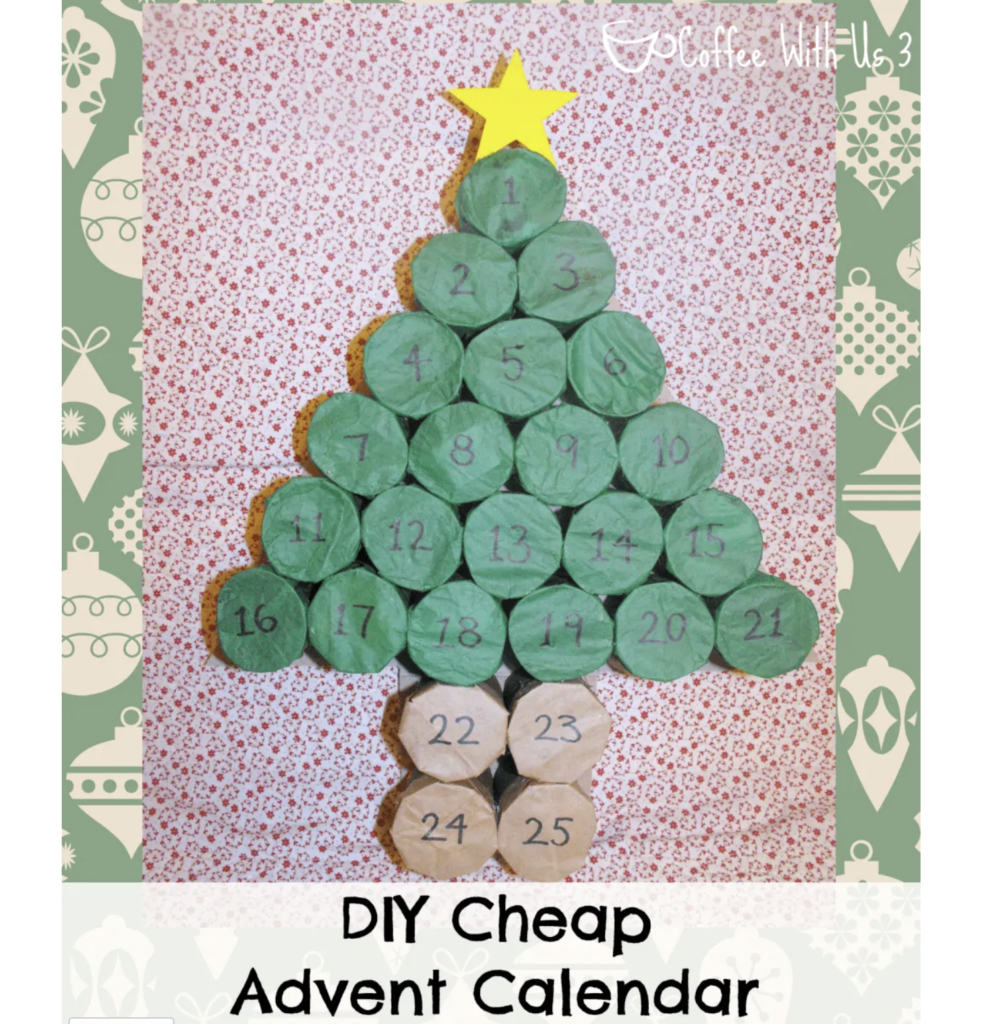 DIY advent calendar toilet paper rolls