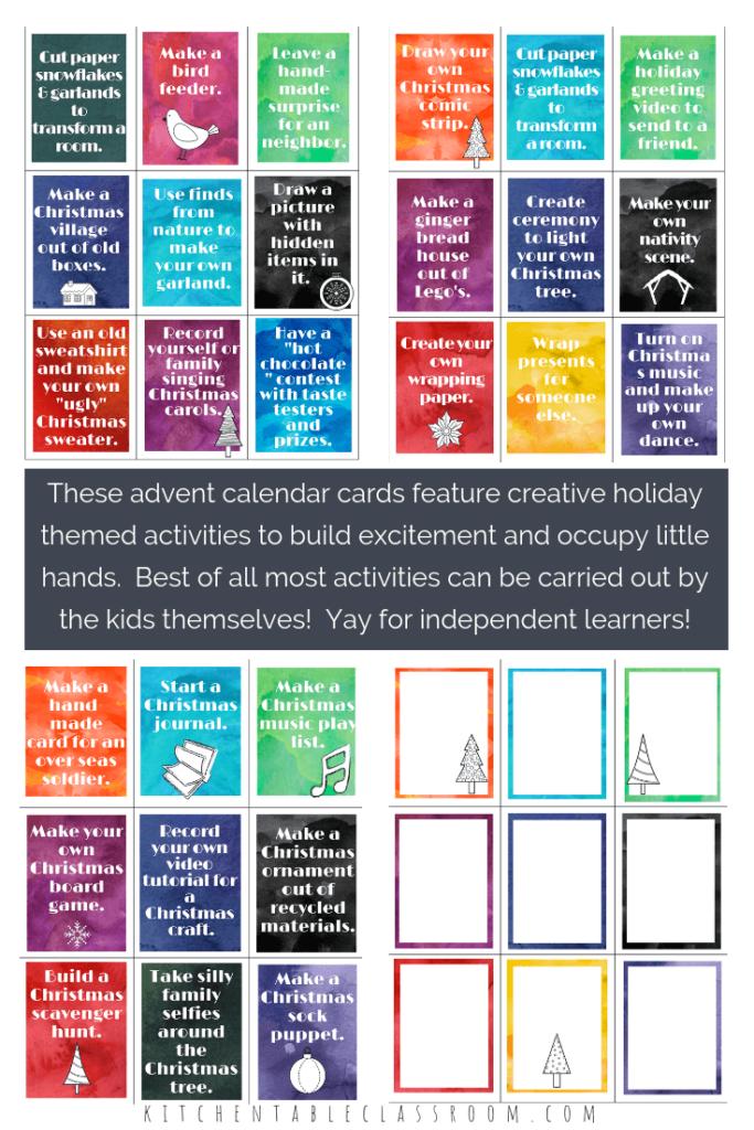 DIY advent calendar activities printable