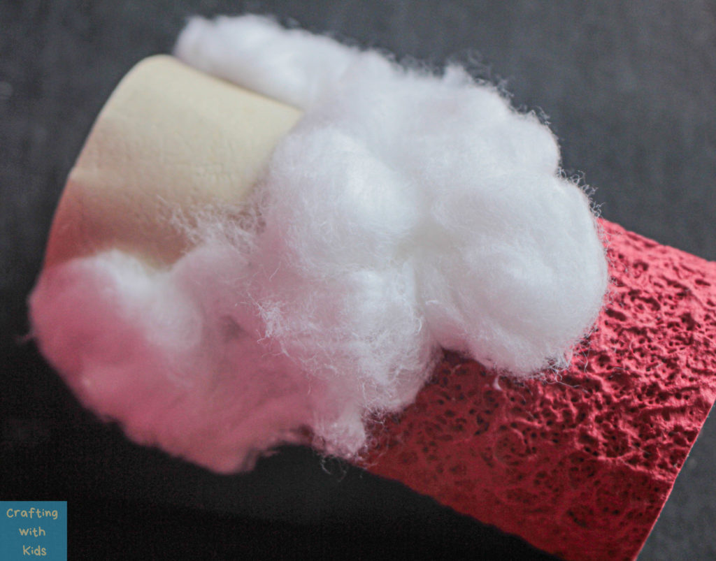 toilet paper roll Santa Claus beard with cotton balls