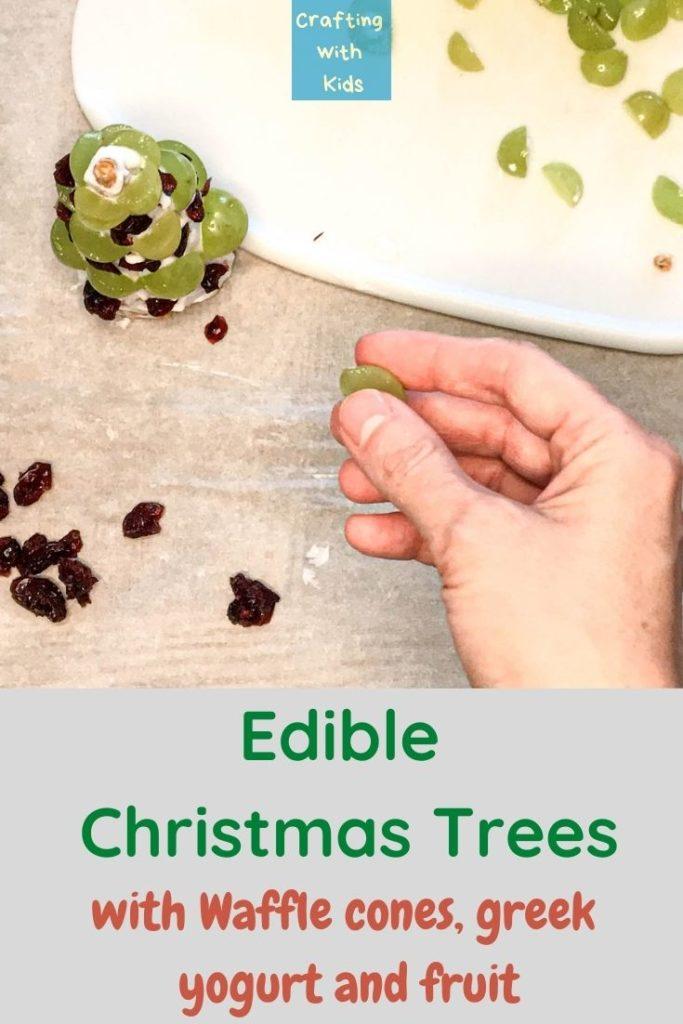 edible Christmas trees with waffle cone yogurt and fruit