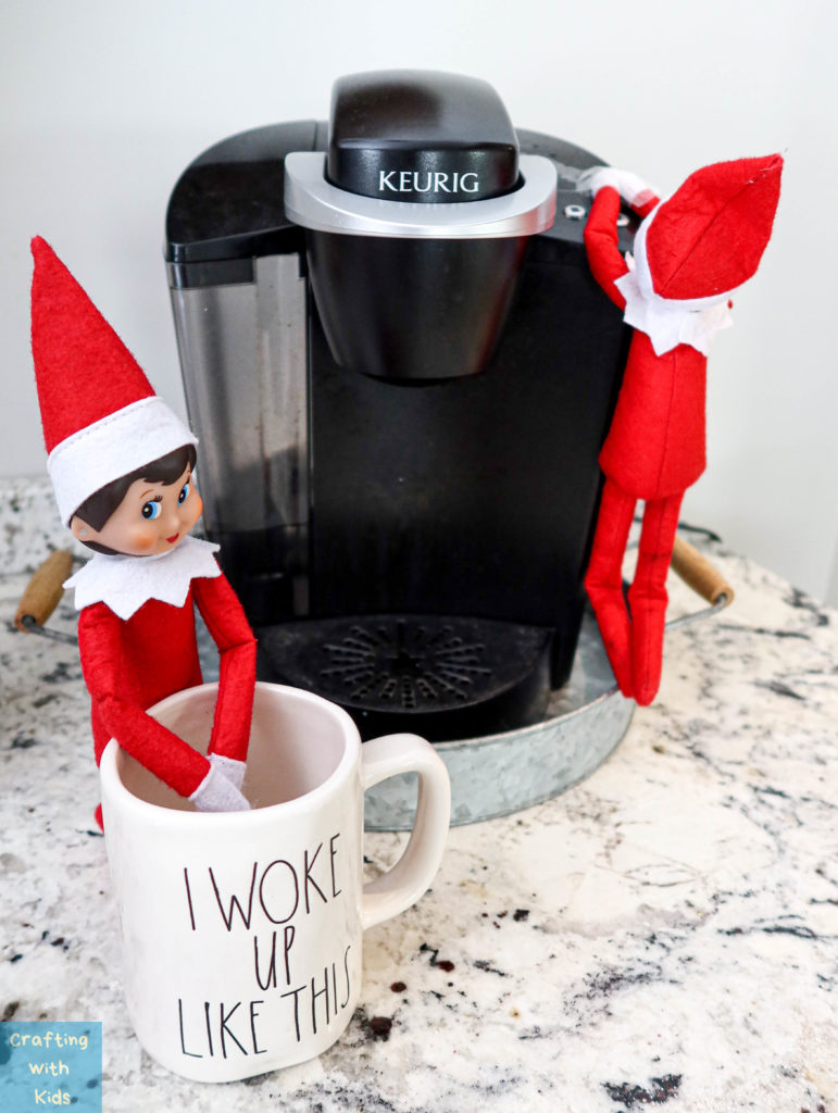 Elf on the shelf coffee date with two elves