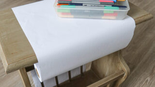 kids drawing desk with DIY paper roll holder