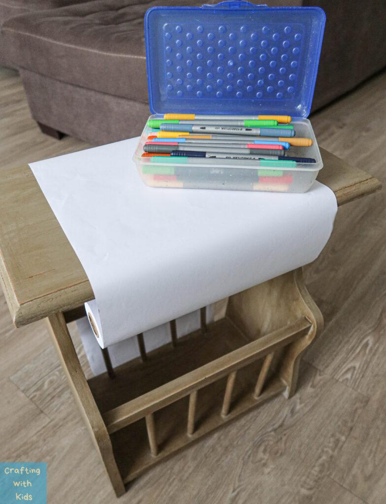 kids drawing desk with DIY paper roll holder