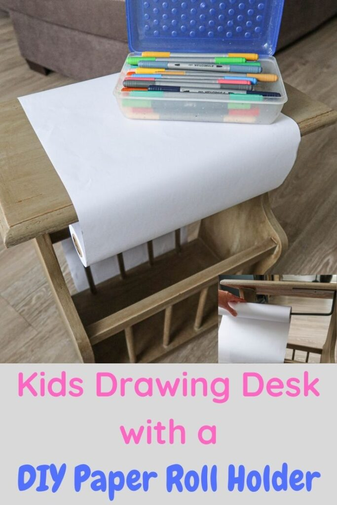 Kids drawing desk with a DIY paper roll holder