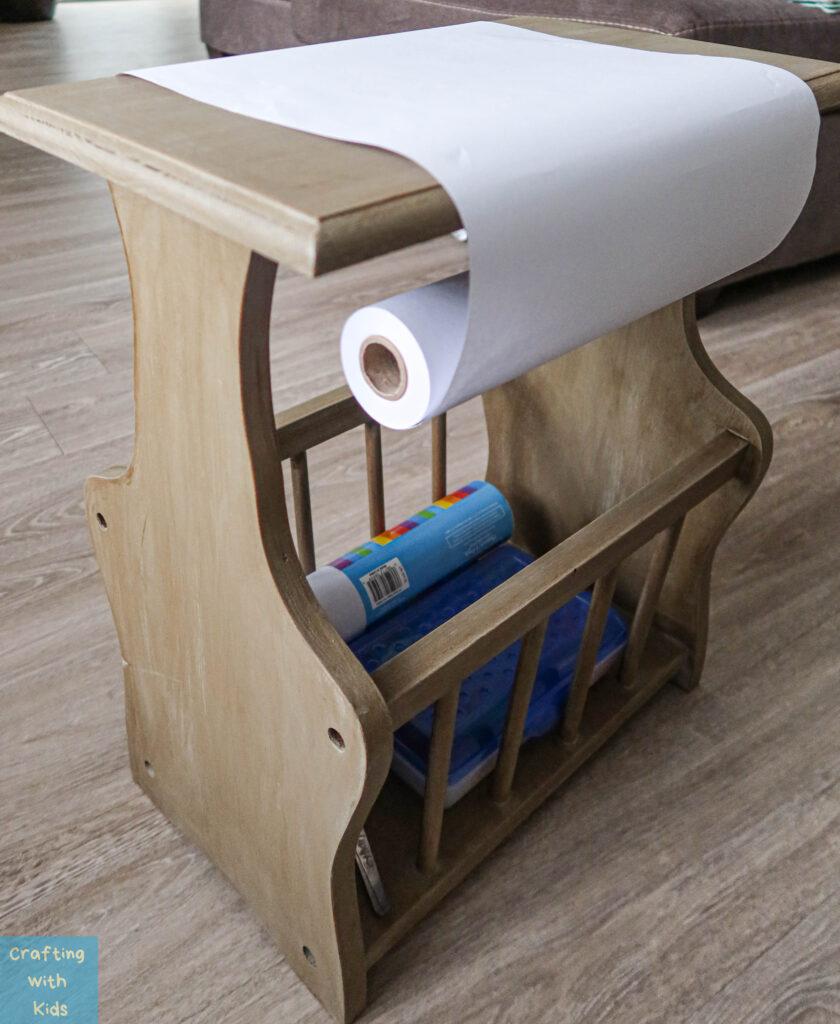 DIY paper roll holder for kids drawing desk
