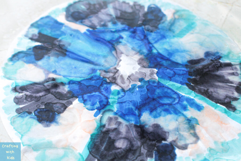 adding water to colored coffee filter for paper chromatography