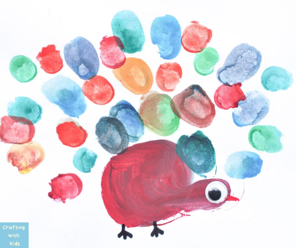 Turkey craft with thumbprint art