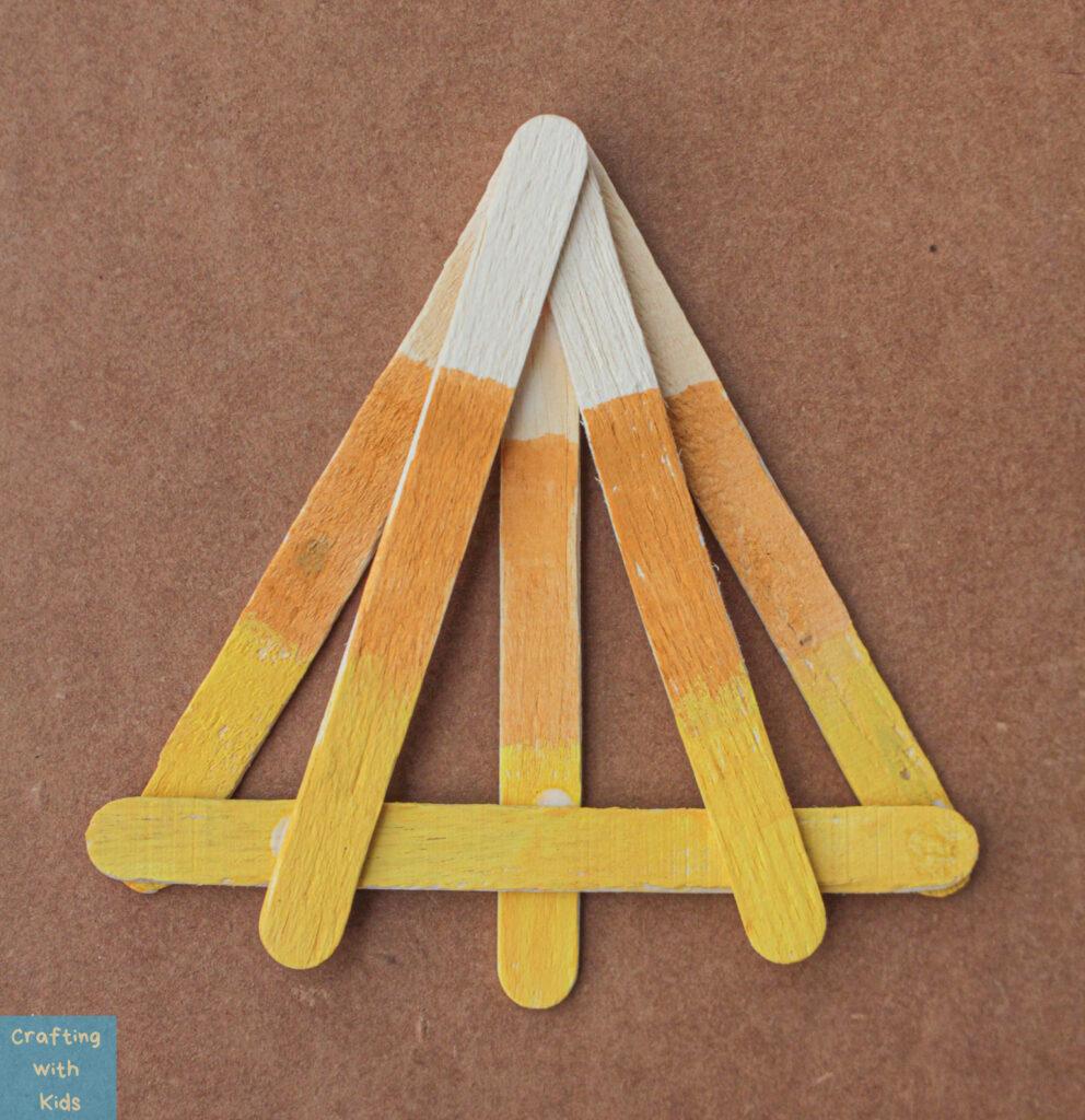 candy corn popsicle stick kid craft