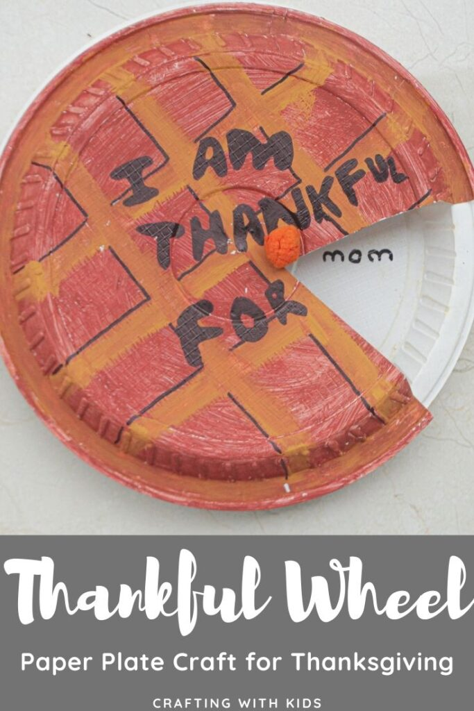 DIY Thankful Wheel paper plate craft for Thanksgiving for kids
