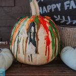 melted crayon art on pumpkin