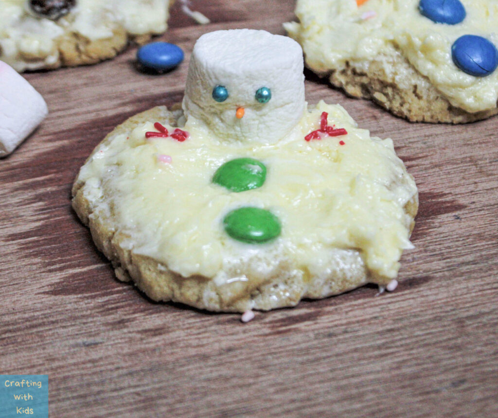buttons on snowman for melting snowman cookies